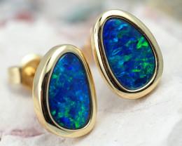 Handmade Designer Doublet Opal  14k Gold Earrings  OPJ158