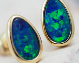 Handmade Designer Doublet Opal  14k Gold Earrings  OPJ159