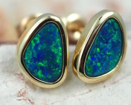 Handmade Designer Doublet Opal  14k Gold Earrings  OPJ160