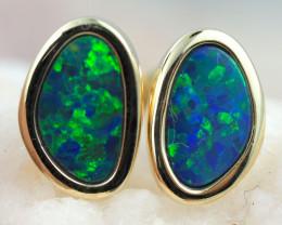 Handmade Designer Doublet Opal  14k Gold Earrings  OPJ161