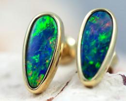 Handmade Designer Doublet Opal  14k Gold Earrings  OPJ162