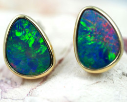 Handmade Designer Doublet Opal  14k Gold Earrings  OPJ163