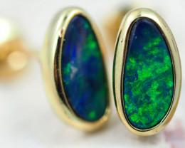 Handmade Designer Doublet Opal  14k Gold Earrings  OPJ164