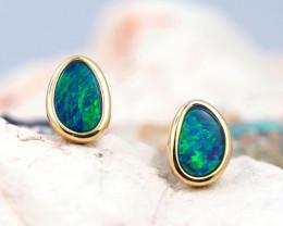 Handmade Designer Doublet Opal  14k Gold Earrings  OPJ165