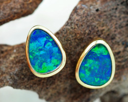 Handmade Designer Doublet Opal  14k Gold Earrings  OPJ166