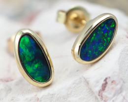 Handmade Designer Doublet Opal  14k Gold Earrings  OPJ168