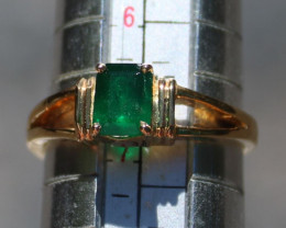 Swat Valley Emerald .87ct 18K Solid Gold Ring, Certified and Appraised, Uno