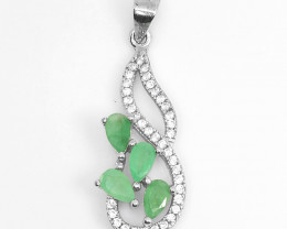 Natural Emerald gemstones Pendent 925 Silver