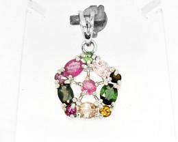 Natural Multi color Tourmaline 11 Pcs Gemstones Pendent 925 Silver