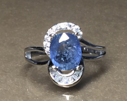 2.84 cts 100% Natural Blue   sapphire 925 Sterling white rhodium silver rin