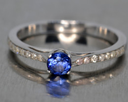 Natural Sapphire, Diamonds and Silver Ring (White Gold Coated)