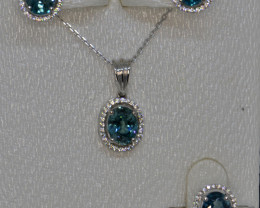 Natural Zircon, Cz and Silver Jewelry Set (White Gold Coated)