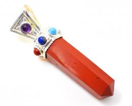 Red Jasper Seven Chakra Healing Point Pendant
