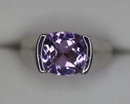Natural Amethyst & Silver Ring