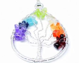 Seven Chakra Pear Shape Tree Pendant