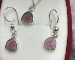 Watermelon Tourmaline sterling silver 925 Necklace and Earrings