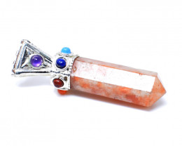 Sunstone Seven Chakra Point Pendant