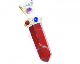Seven Chakra Red Mookaite Healing Point Pendant