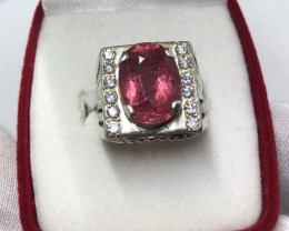 Wow Very nice Beautiful Hand Made Tourmaline With Zircon 925 Silver Ring