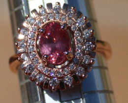 Red Mahenge Spinel .90ct,Solid Sterling Silver,Rose Gold Finish,Brand New