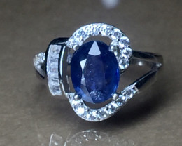 Natural Blue sapphire 925 Sterling white rhodium silver ring