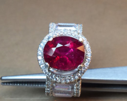 Natural Tourmaline Rubellite 3.30 cts  925 Sterling white rhodium silver ri