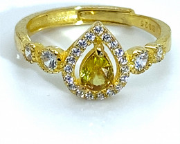 Sphene 1.01ct Yellow Gold Finish Solid 925 Sterling Silver Ring