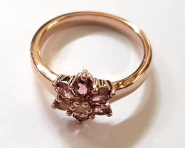 Pink Tourmaline 925 Sterling silver ring #731