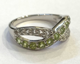 Peridot 925 Sterling silver ring #9517