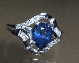 Natural 2.28 cts Blue sapphire 925 Sterling white rhodium silver ring