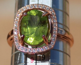 Peridot 3.90ct,Solid 925 Sterling Silver,Rose Gold Finish Ring,Natural,Bran