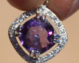 Amethyst 1.25ct,Solid 925 Sterling Silver,White Gold Finish Pendant,Natural