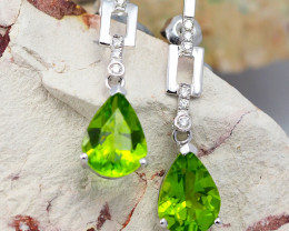 18K White Gold Peridot & Diamond Earrings - D E7936