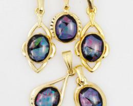 Five  Bright  natural Opal pendants  OPJ 1033