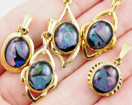 Five  Bright  natural Opal pendants  OPJ 1034