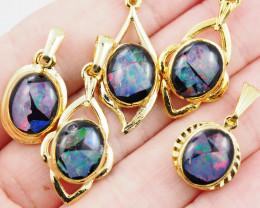 Five  Bright  natural Opal pendants  OPJ 1034