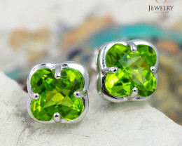 18K White Gold Peridot Earrings - D E3991C