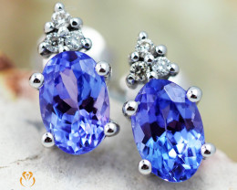 18K White Gold Tanzanite & Diamond Earrings - D E9798