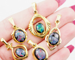 Five  Bright  natural Opal pendants  OPJ 1038