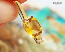 18K Yellow Gold Citrine & Diamond Pendant - D P5794