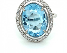 Blue Topaz 6.35ct,Solid 925 Sterling Silver,White Gold Finish Ring,Natural,