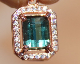 Blue Tourmaline 1.35ct or Indicolite,Solid 925 Sterling Silver,Rose Gold Fi