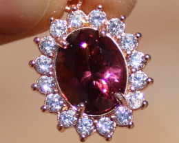 Red Tourmaline or Rubellite 1.80ct,Solid 925 Sterling Silver,Rose Gold Fini