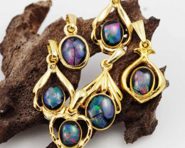 Six  Bright  natural Opal pendants  OPJ 1039