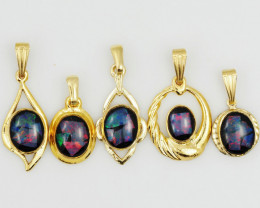 Five  Bright  natural Opal pendants  OPJ 1042