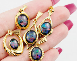 Five  Bright  natural Opal pendants  OPJ 1043