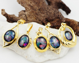 Five  Bright  natural Opal pendants  OPJ 1044