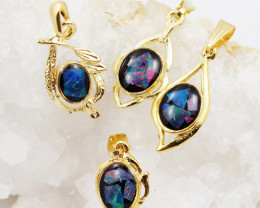 Four  Bright  natural Opal pendants  OPJ 1045