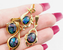 Four  Bright  natural Opal pendants  OPJ 1046
