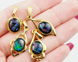 Four Bright  natural Opal pendants  OPJ 1050